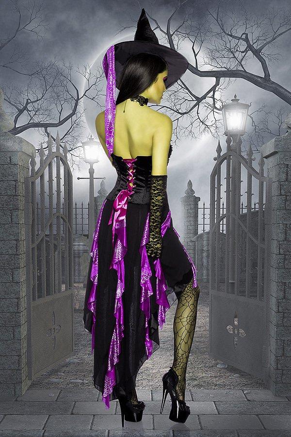Hexenkostüm schwarz/lila