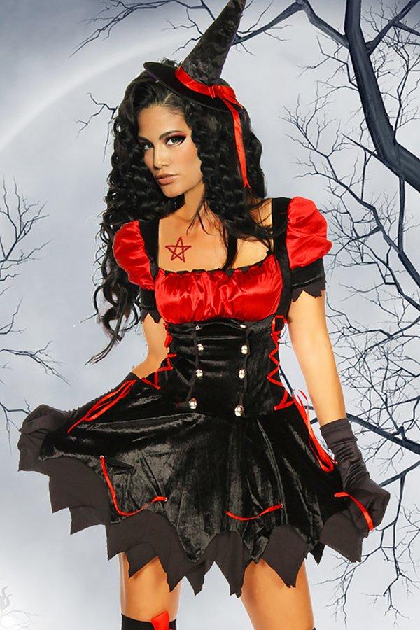 Hexenkostüm schwarz/rot
