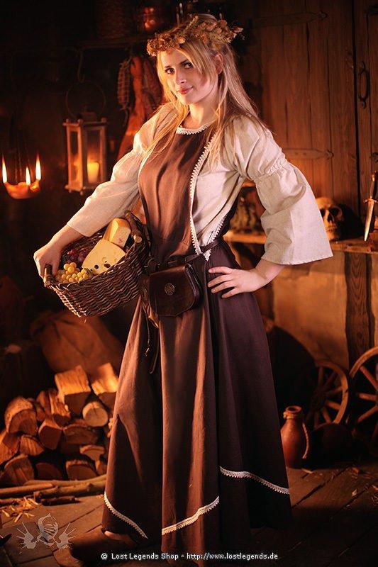 Mittelalterliches Höllenfenster-Kleid mit Bordüre