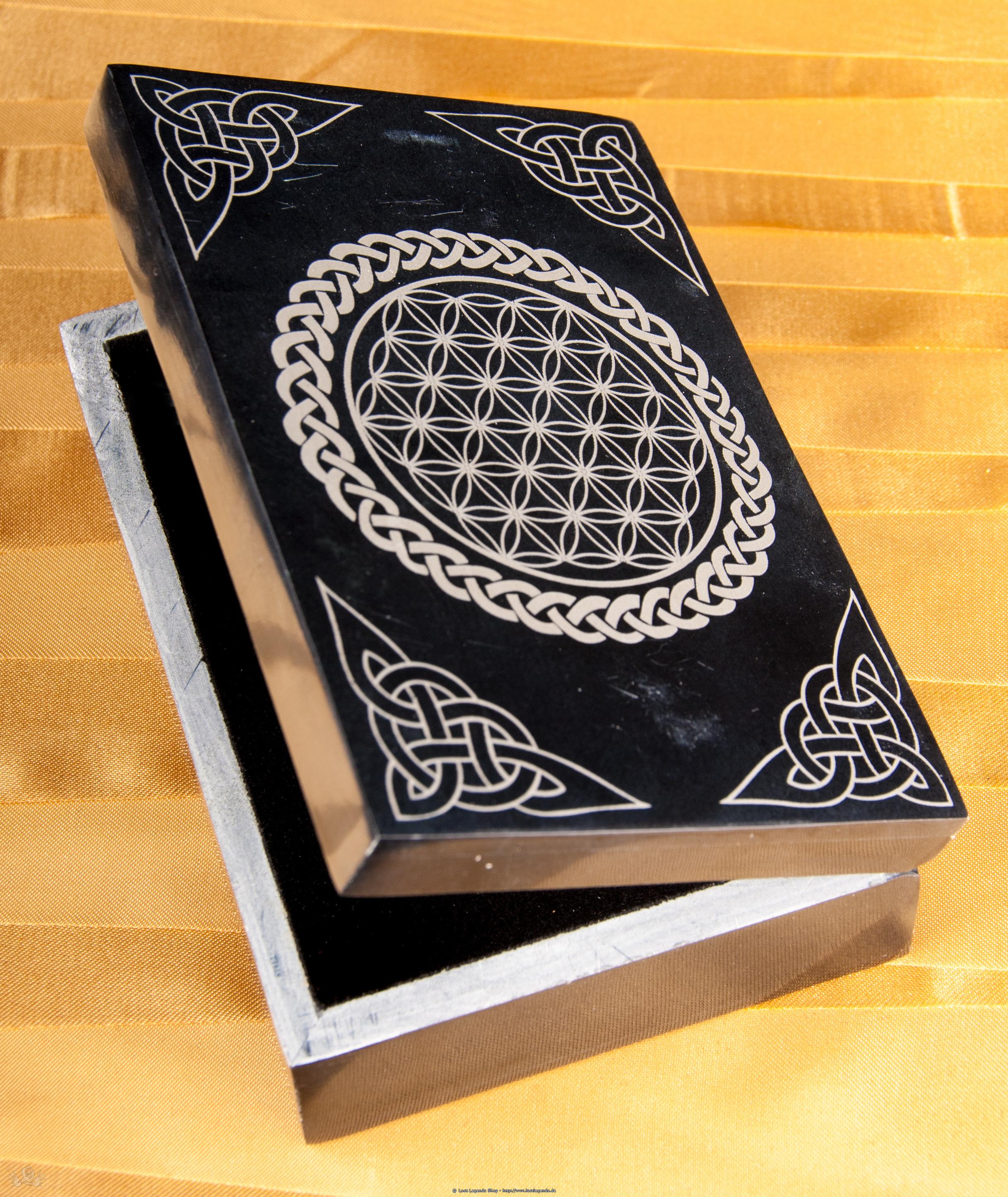 Kartenbox - Blume des Lebens Speckstein schwarz
