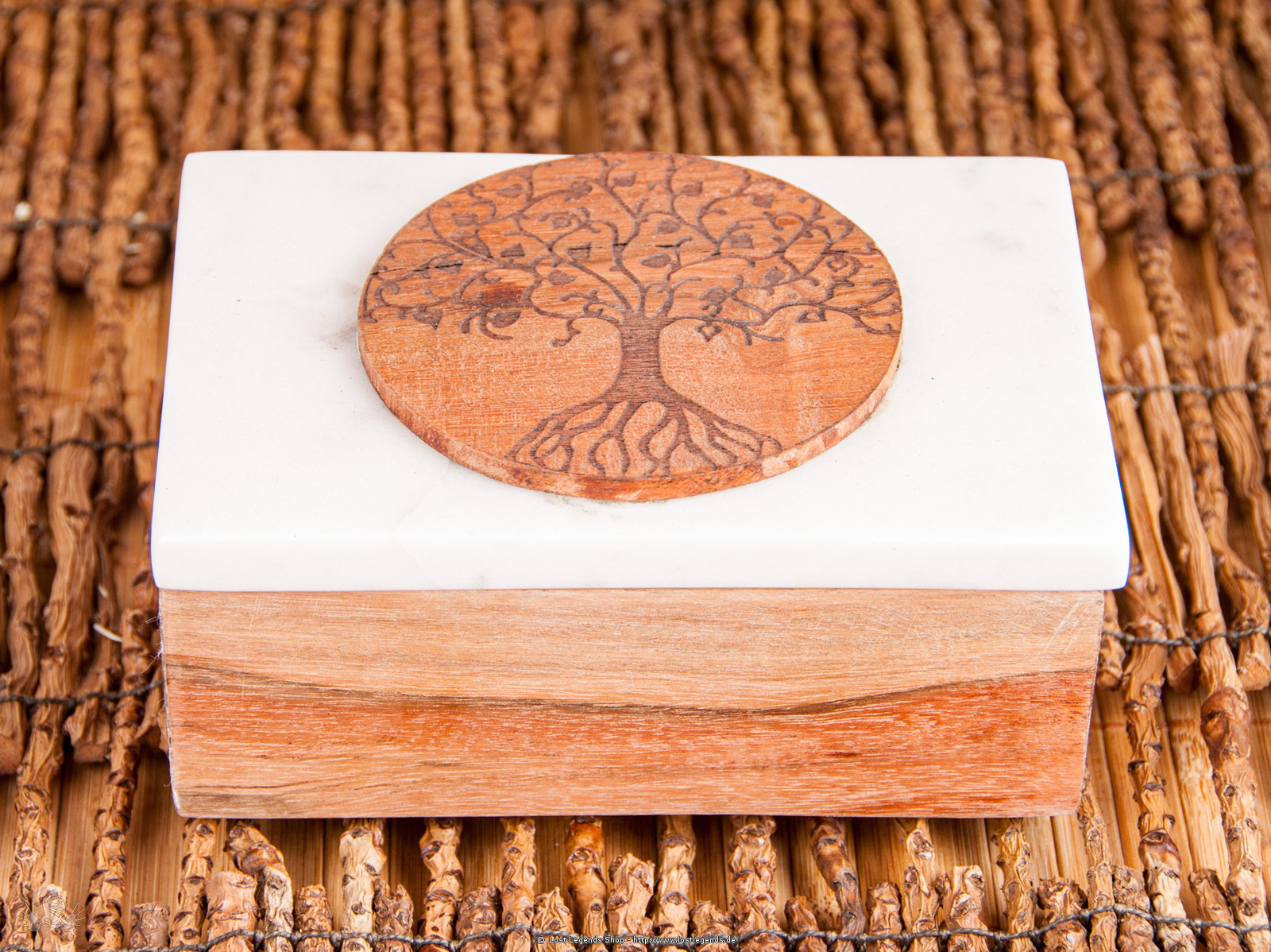 Kartenbox aus Marmor Lebensbaum Marmor/Akazienholz