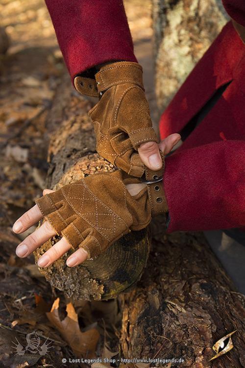 Kelten Handschuhe Braun, Wildleder