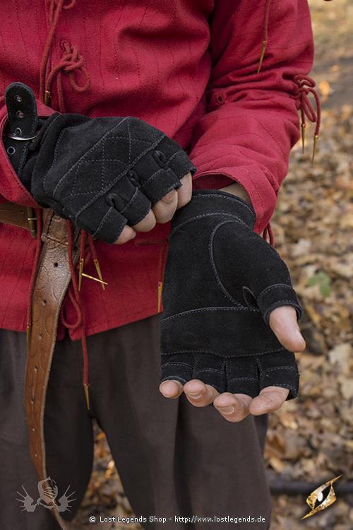 Kelten Handschuhe Schwarz, Wildleder
