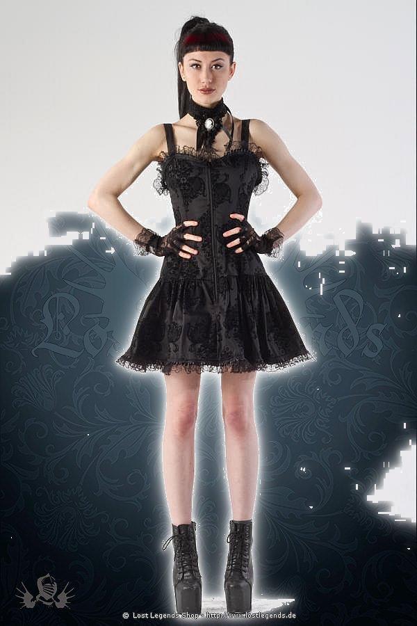 Kiara gothic black flock print Kleid