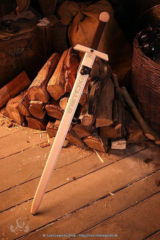 Holzschwert Excalibur mit Halterung, ca 100 cm.