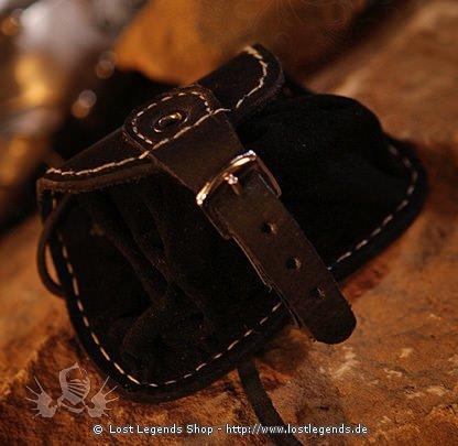 Kleine Gürteltasche Leder, schwarz