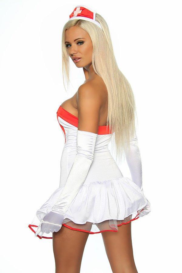 Krankenschwesterkostüm weiß/rot