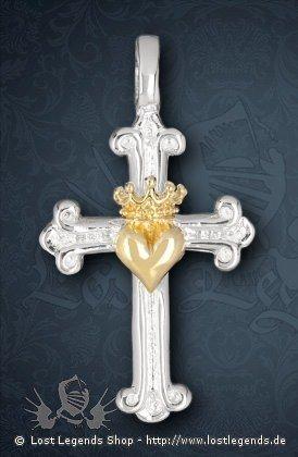 Kreuz mit Herz und Krone Anhänger, Bronze