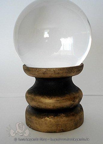 Kristallkugelhalter aus Holz, gold-schwarz