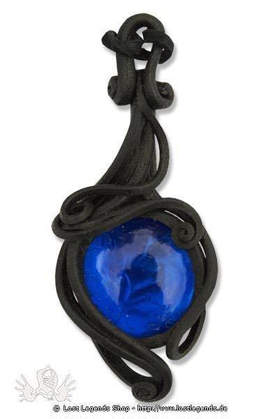 Kunstharz Anhänger mit blauem Glasstein