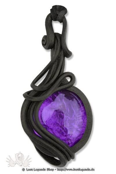 Kunstharz Anhänger mit violettem Glasstein