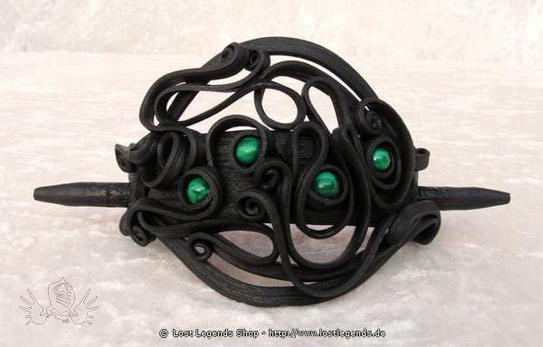 Kunstharz Haarspange mit Malachit Perlen