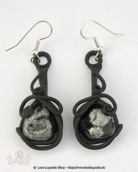 Kunstharz Ohrringe mit Obsidian