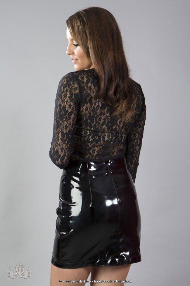 Kylie mini skirt black matte vinyl