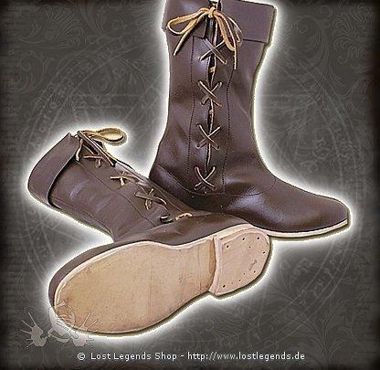 Lange Schnürstiefel dunkelbraun   Mittelalter Schuhe 5caffbcc41