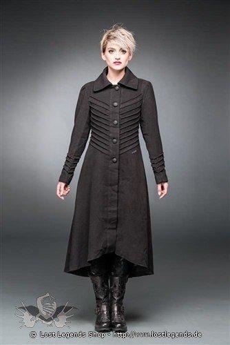 Langer Mantel  mit Ziernähten