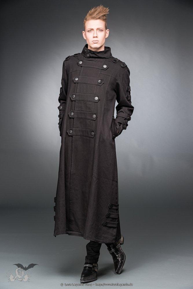 Langer schwarzer Gothic Mantel mit Knöpfen