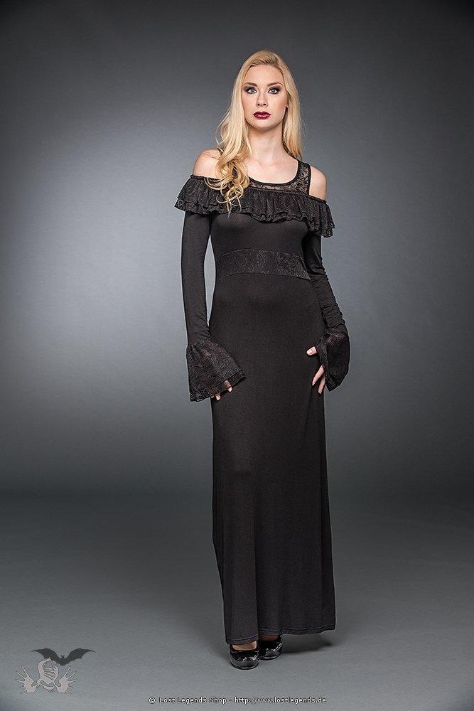Langes Gothic Kleid mit gerüschtem Dekolletee