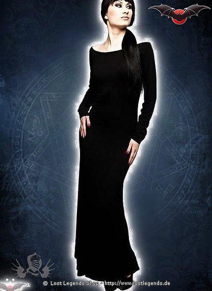 Langes Gothickleid mit Rückenausschnitt