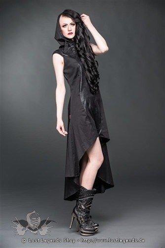 Langes Kleid mit Kapuze und hohem Kragen
