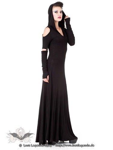 langes schulterfreies kleid mit kapuze gothic kleidung. Black Bedroom Furniture Sets. Home Design Ideas