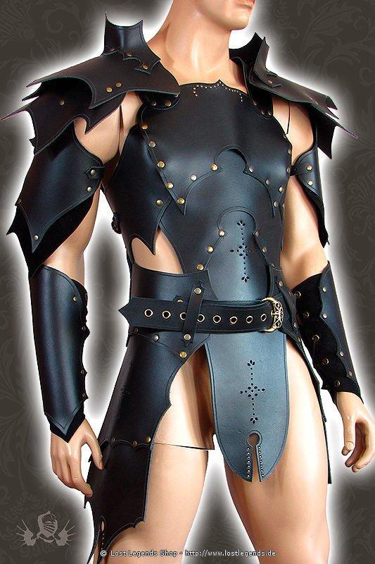 Larp Leder-Rüstung Dunkelelf, schwarz