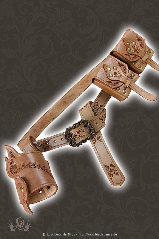 Larp Ledergürtel mit Waffenhalter & Taschen
