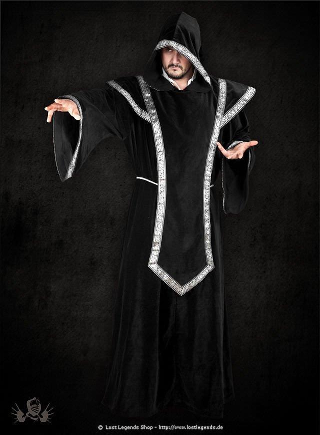 Larp-Robe mit Bordüren schwarz