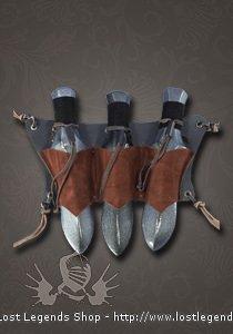 LARP Wurfdolchhalter, dreifach Leder, braun