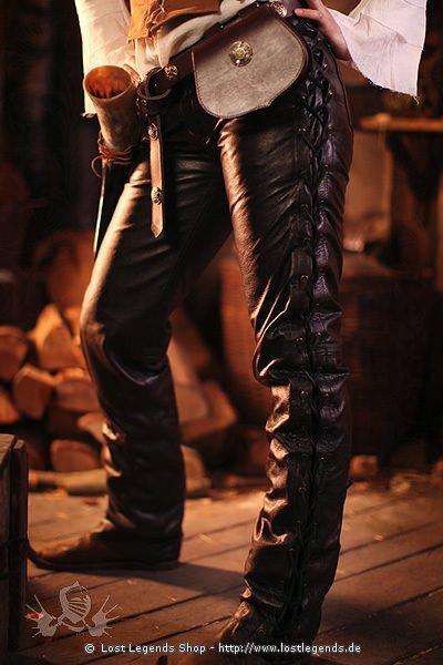 Lederhose geschnürt Mittelalter Larp Hose, Nappaleder