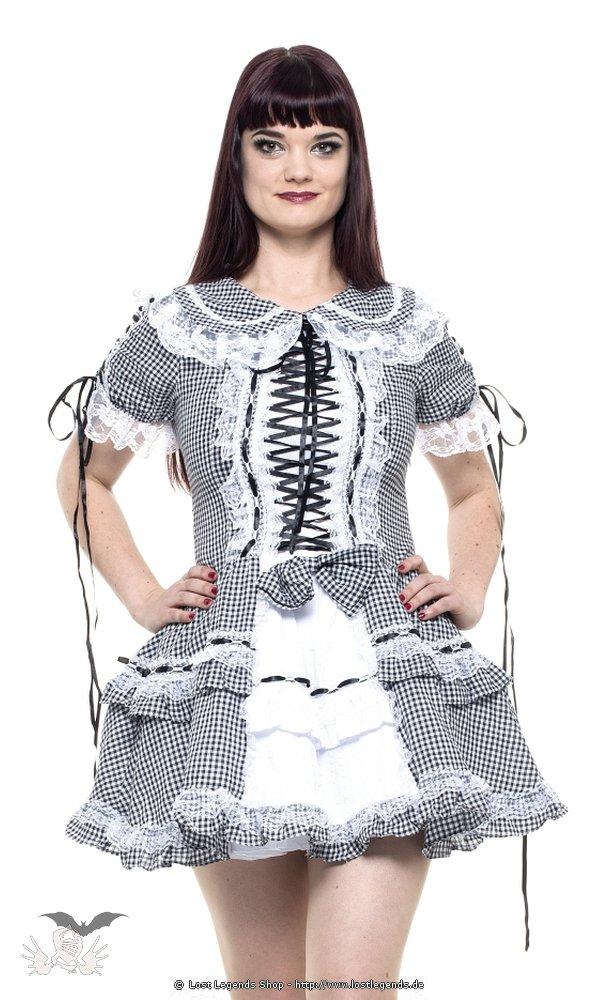 Lolita-Minikleid Schwarz-weiß karierte