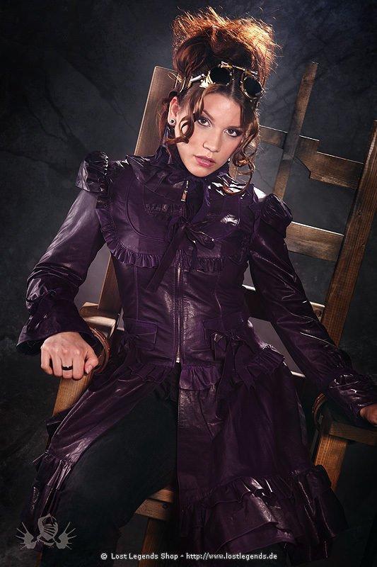 Lolita Steampunk Jacket Leder, Lila