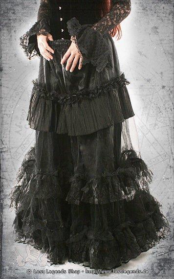 Long Widow Frillskirt Rock, Tüll schwarz