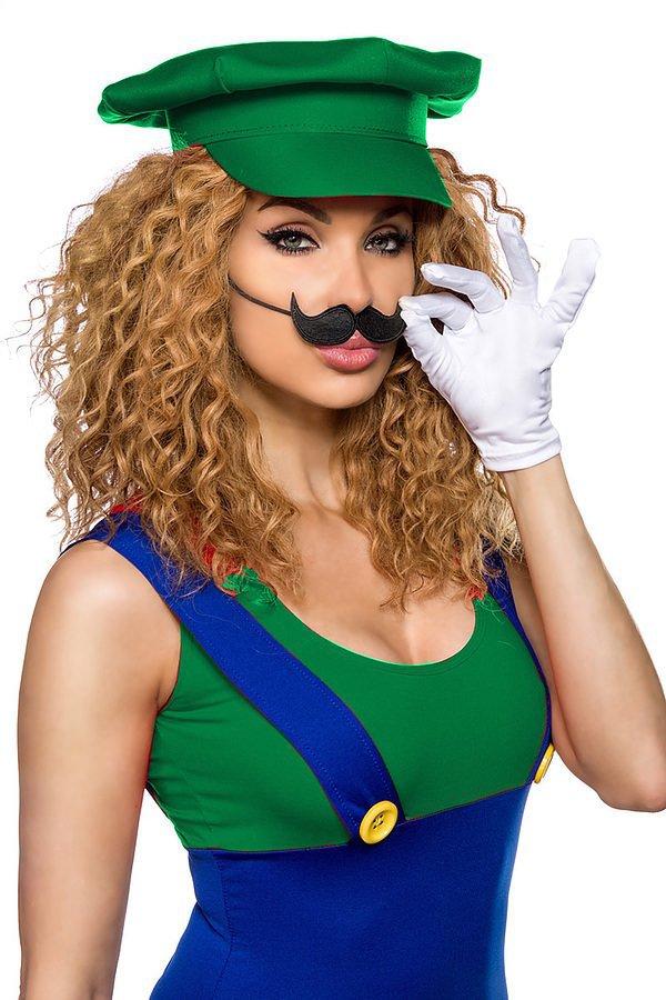 Luigi Kostüm grün/blau/weiß