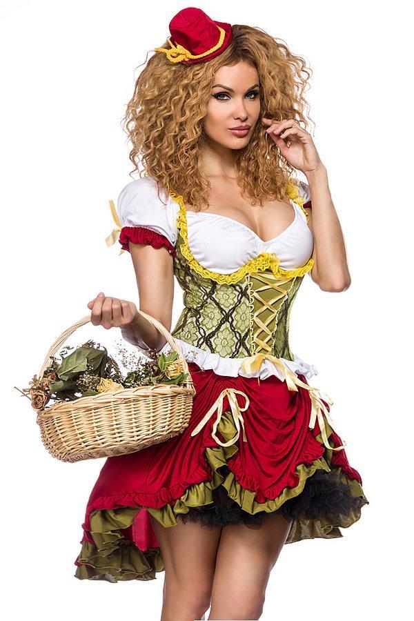 Magd Kostüm rot/grün/weiß