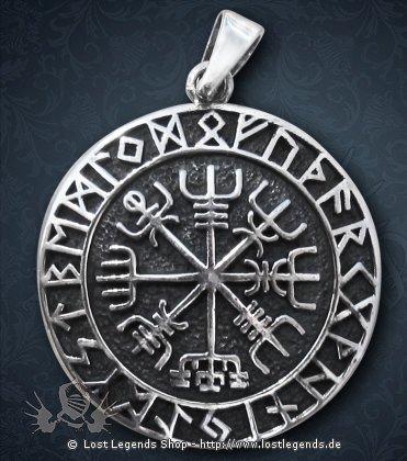 Magisches Siegel Vegvisir Anhänger, Silber