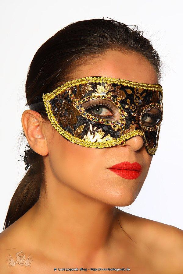 Maske schwarz/gold
