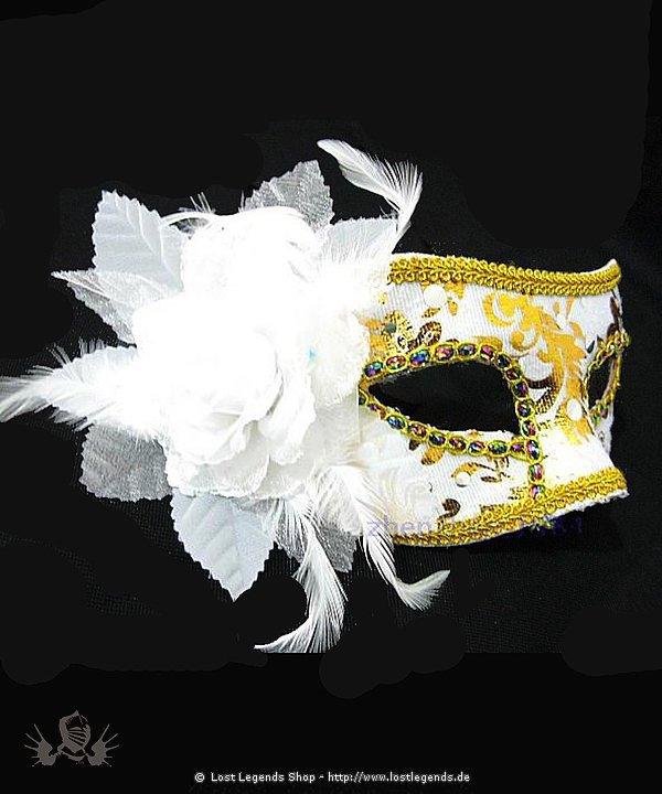 Maske weiß/gold