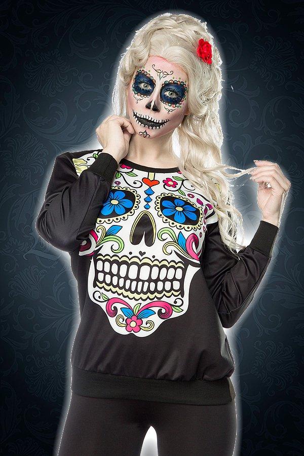 Mexican Skull Sweatshirt schwarz/bunt
