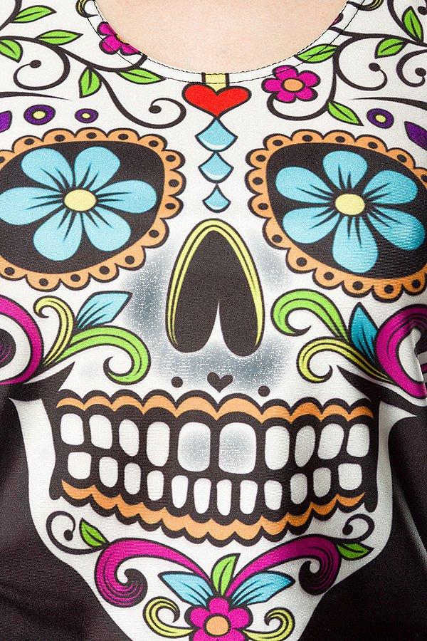 Mexican Skull Top mit Blumen