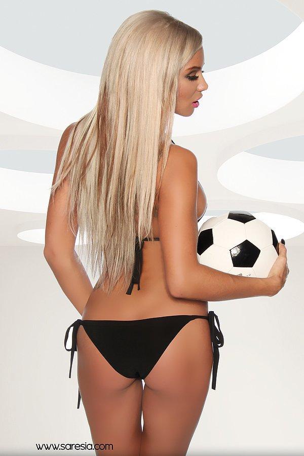 Micro-Fußball-Bikini schwarz/weiß