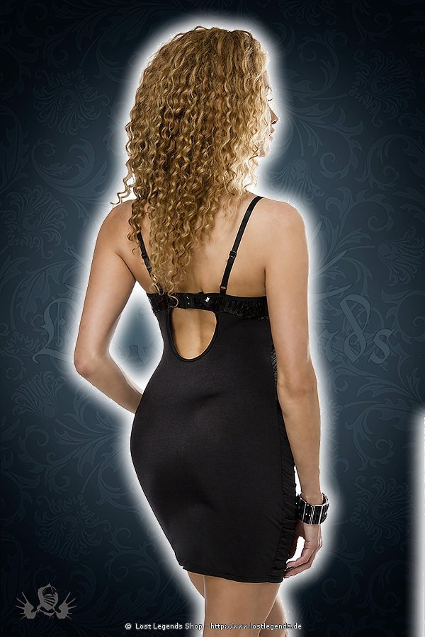 Minikleid mit Pailletten schwarz