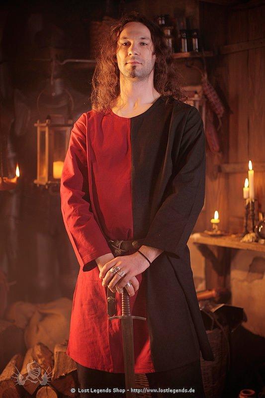 Mittelalter Baumwolltunika schwarz-rot