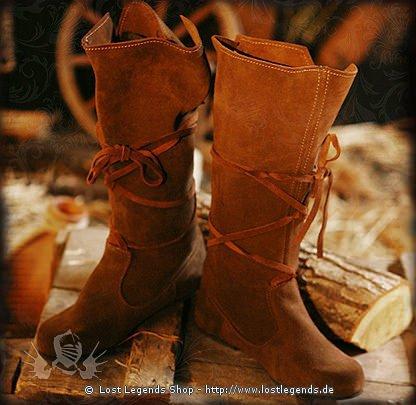 Mittelalter-Schuhe Damenstiefel aus Wildleder