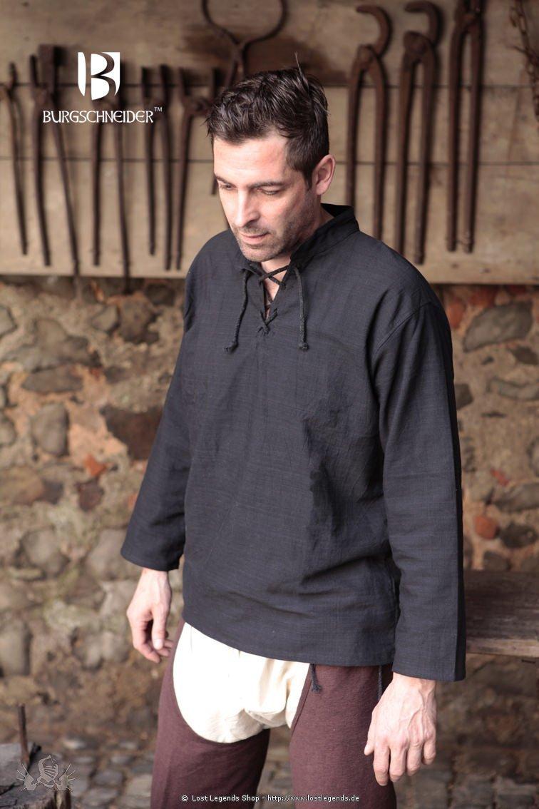 Mittelalter-Hemd Tristan, schwarz