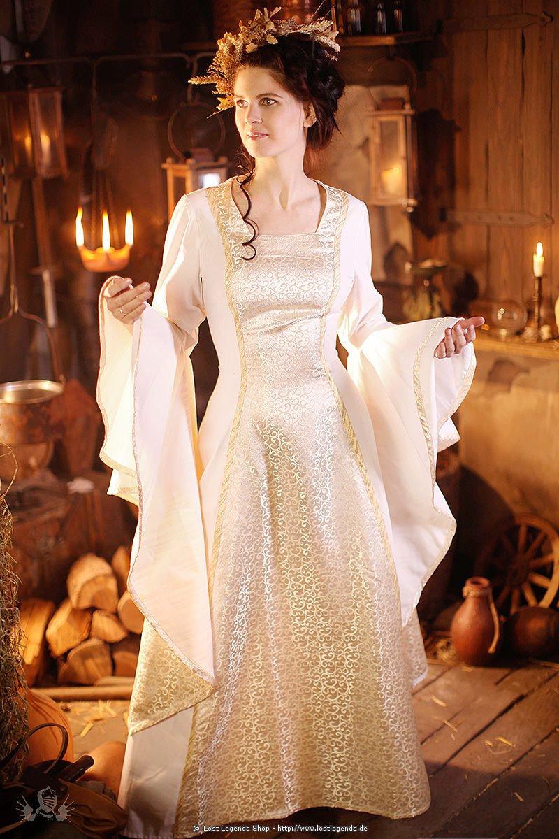 Mittelalter Hochzeitskleid Baumwolle, Elbenkleid | Mittelalter Kleider