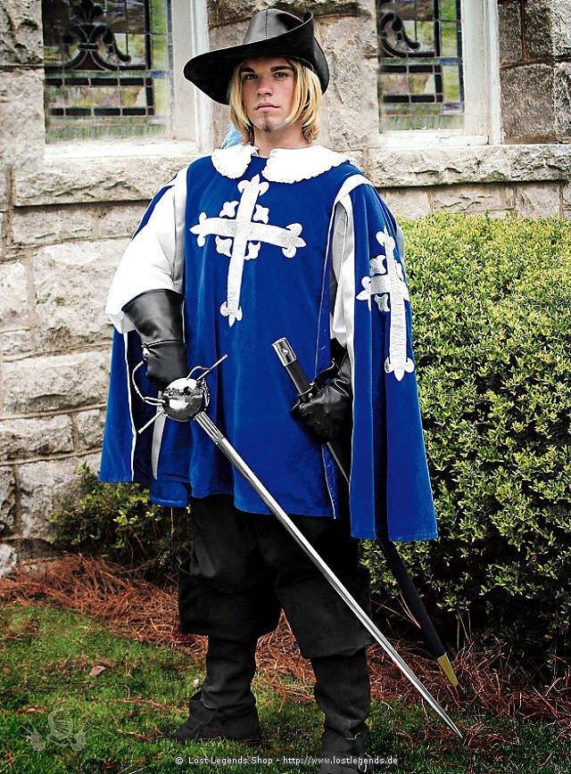Mittelalter Kleidung Blauer Tabard mit Kapuze