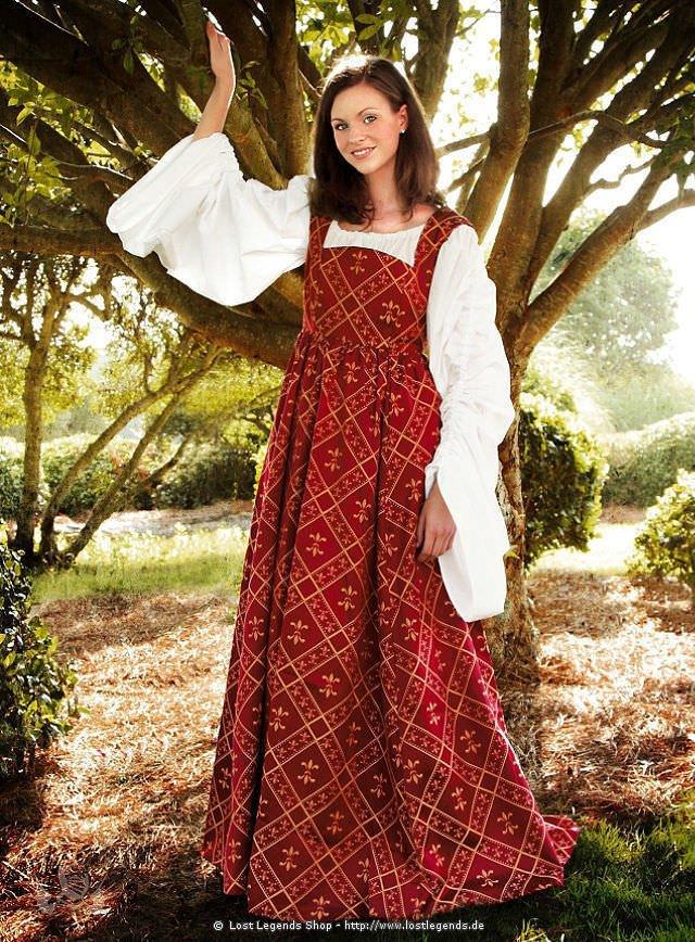 Mittelalter Lilien-Kleid weinrot