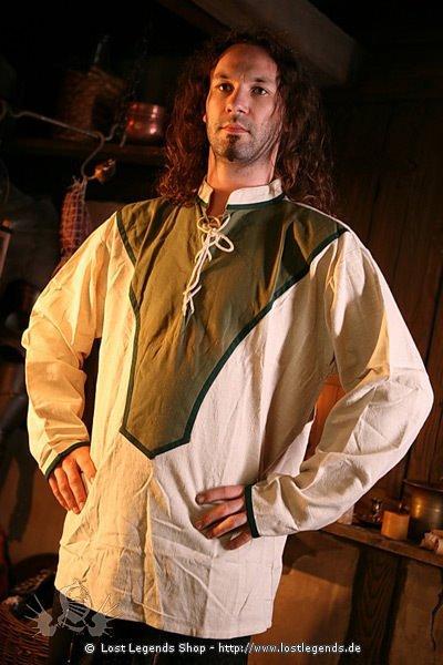 Mittelalter Schnürhemd mit farbigem Einsatz