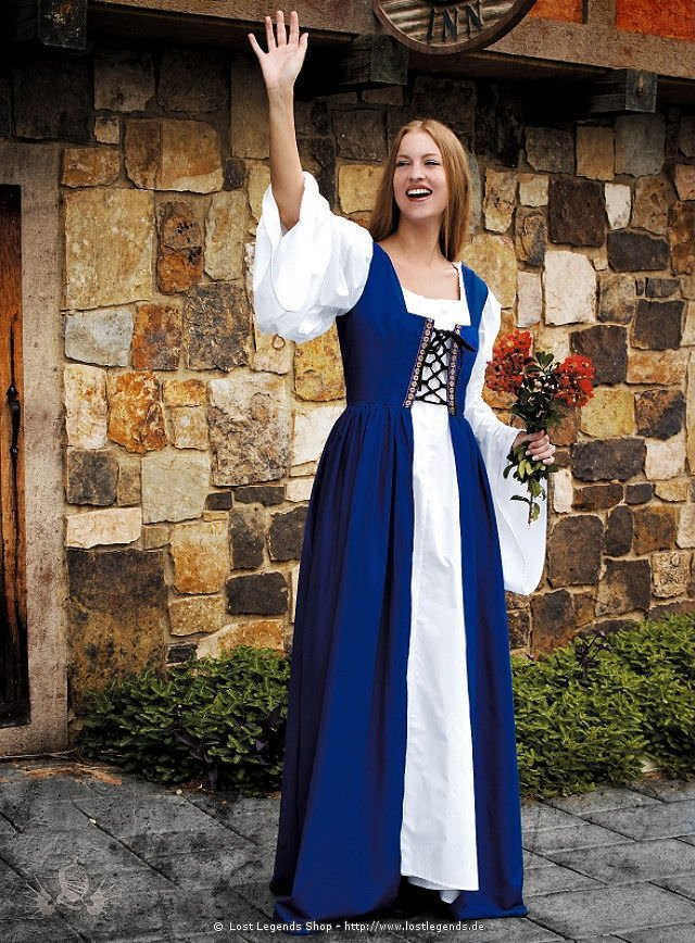 Medieval Surcoat with Bodice, blue